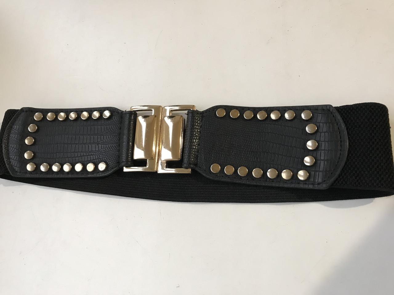 Пояс-ремень эластичный с заклёпками и металлической пряжкой