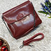 Винная средняя сумка из натуральной кожи, фото 1