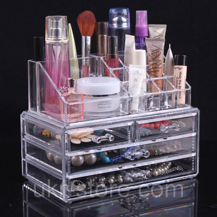 Акриловый органайзер для косметики настольный Cosmetic Organizer