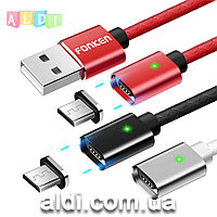Магнитный кабель Fonken (TOPK) - Передача данных + быстрая зарядка - Lightning Micro USB Type-C (1 на выбор).