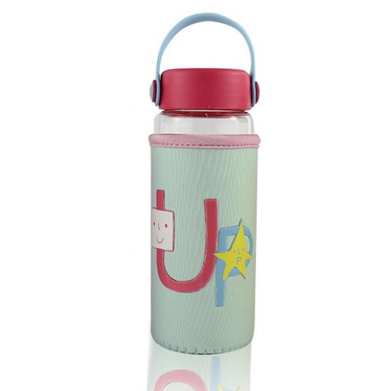 Бутылочка для воды в тканевом чехле c силиконовой крышкой и ручкой Face Letters бирюзовая 148901