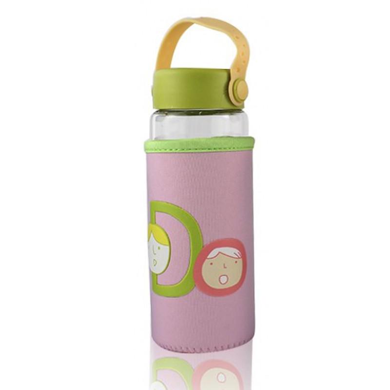Бутылочка для воды в тканевом чехле c силиконовой крышкой и ручкой Face Letters розовая 148902