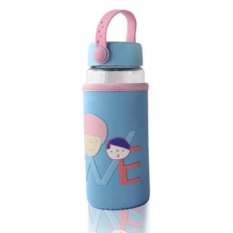 Бутылочка для воды в тканевом чехле c силиконовой крышкой и ручкой Face Letters синяя 148900