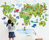 Интерьерная наклейка - Карта мира (120х80см)