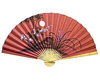 Веер настенный Сакура с бамбуком на красном фоне роспись на ткани