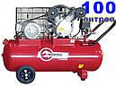 2-х циліндровий ремінною компресор на 100 літрів, 380 Вольт Intertool PT-0013, фото 2