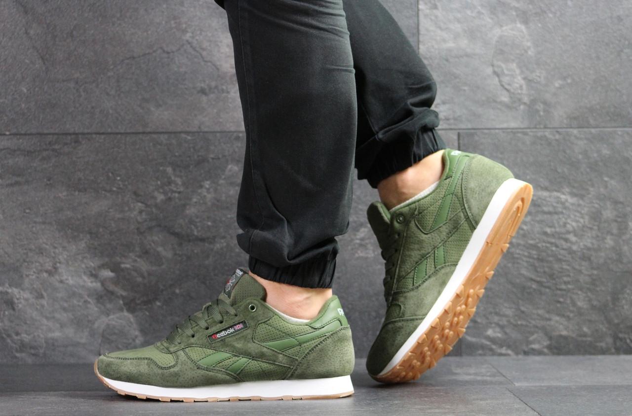 Мужские кроссовки Reebok,кожаные,темно зеленые