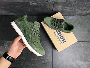 Чоловічі кросівки Reebok,шкіряні,темно зелені, фото 2