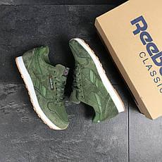 Мужские кроссовки Reebok,кожаные,темно зеленые, фото 3