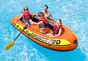 Надувная лодка с веслами и насосом 244*117*36 см