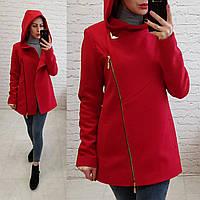 Кашемировое пальто с капюшоном, арт 156, цвет красный