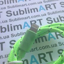 USB кабель усиленный 100 см для iPhone, iPod, iPad 8 pin (салатовый), фото 2