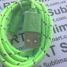 USB кабель усиленный 100 см для iPhone, iPod, iPad 8 pin (салатовый), фото 3