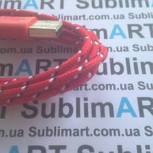 USB кабель усиленный 100 см для iPhone, iPod, iPad 8 pin (красный), фото 2