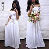 """Платье женское, стильное, летнее """"Крестьянка"""", белое, 1113-028"""