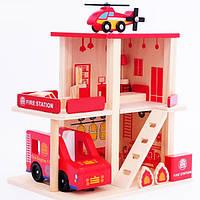 Деревянная игрушка Гараж MD 1059-2 Пожарная