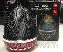 Портативная колонка WS-1802 Multimedia Speaker LED, Bluetooth.