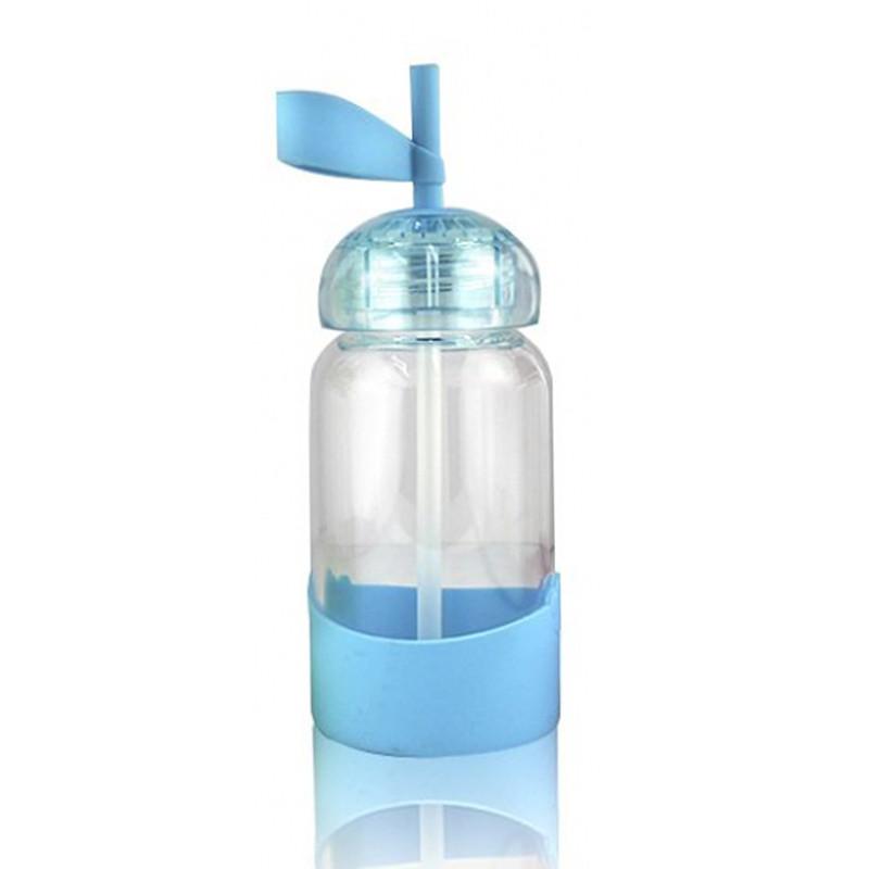 Детская бутылочка поилка с трубочкой и силиконовым держателем голубой 148916