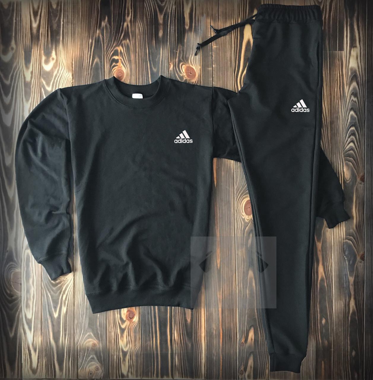 Спортивный костюм черный с маленьким логотипом Adidas топ-реплика
