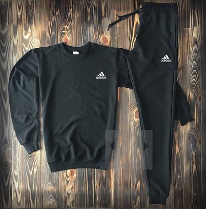 Спортивный костюм черный с маленьким логотипом Adidas топ-реплика, фото 2