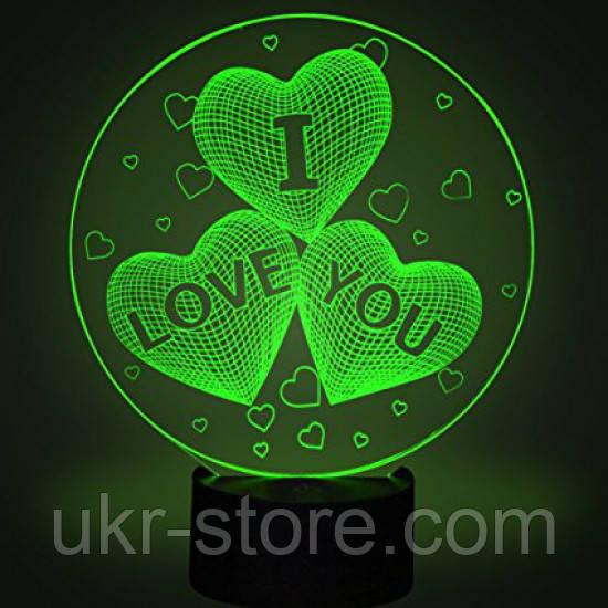 Настольный светильник 3D - I love you, фото 1