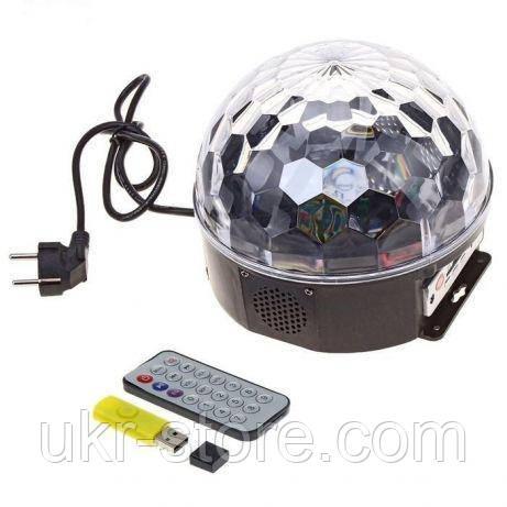 Диско-шар светодиодный Led Magic Ball MP3 +флешка +пульт, фото 1