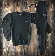 Спортивный костюм черный с прямоугольным логотипом New Balance топ-реплика
