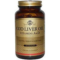 Рыбий жир с витаминами  А и D Solgar 250 капсул