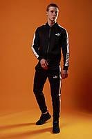 Мужской спортивный костюм Puma (black), черный спортивный костюм с лампасами, костюм с лампасами Пума