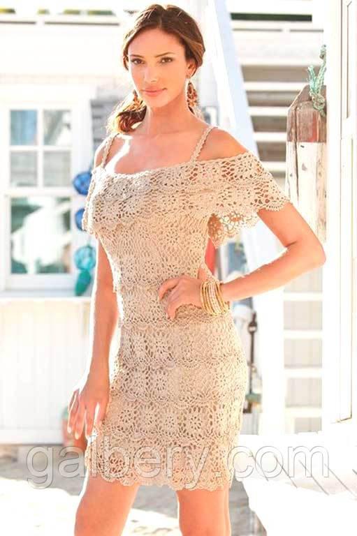 Вязаное платье с ажурной пелериной цвета слоновой кости ручной работы