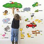 Интерьерная наклейка - Животные на английском  (118х75см), фото 2