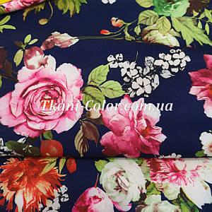 Ткань барби принт цветы на темно-синем