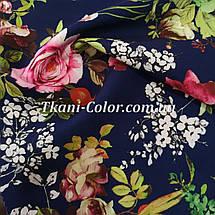 Ткань барби принт цветы на темно-синем, фото 2