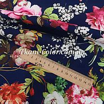 Ткань барби принт цветы на темно-синем, фото 3