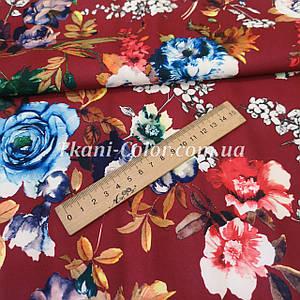 Ткань барби принт цветы на бордовом