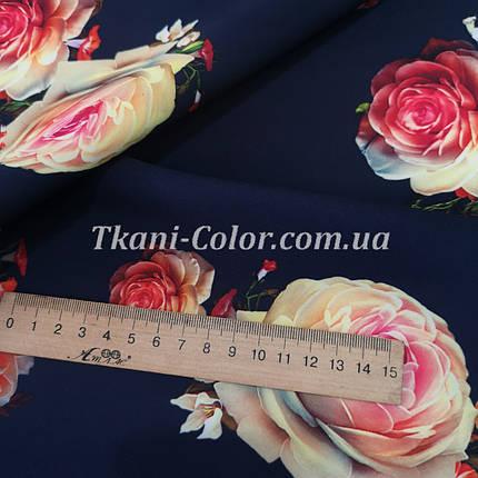 Ткань барби принт розы на темно-синем, фото 2