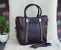 Женская кожаная сумка с металлическими цепочками шоколадная, фото 1