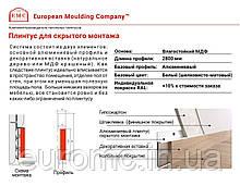 Плинтус скрытого монтажа 10x130мм комплект