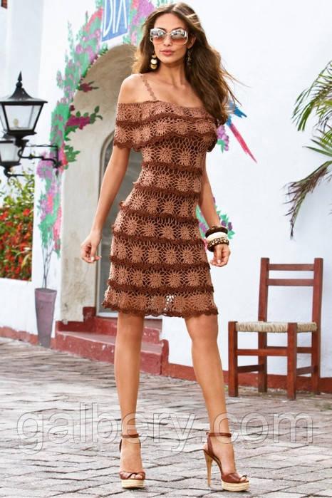 Вязаное платье с ажурной пелериной кофейно-коричневого цвета ручной работы