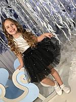 Черная  пышная  юбка туту   для девочки Жемчуг, фото 1
