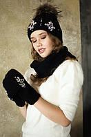 """Черный комплект шапка варежки и снуд крупной вязки Эльза""""."""