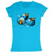 Женская футболка стильная с принтом Angry Birds Space