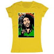 Женская футболка стильная с принтом Bob Marley Smoking
