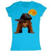 Женская футболка стильная с принтом Кот в сапогах