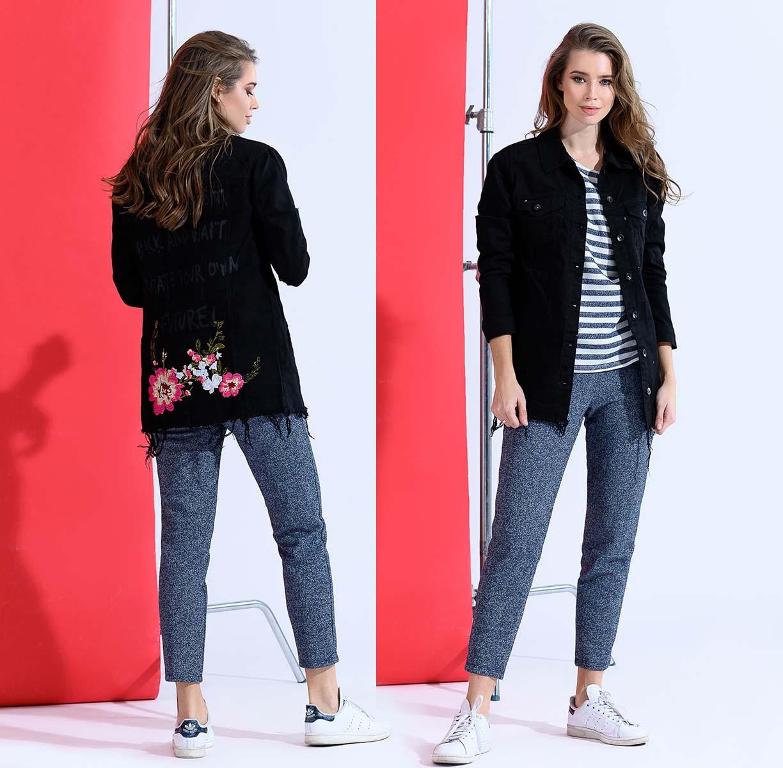"""Женская стильная удлинённая джинсовая куртка-кардиган """"1826"""""""