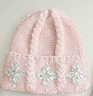 """Женская шапка крупной вязки с косами расшитая стразами и бисером """"Эльза"""""""