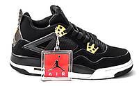 Женские кроссовки Nike Air Jordan Retro 4 Black (найк аир джордан 4, черные)