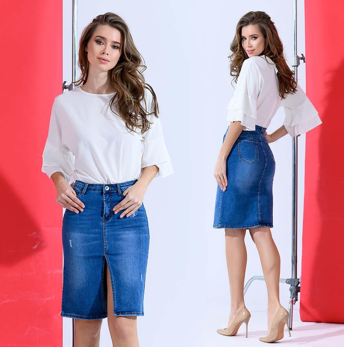 """Женская стильная юбка средней длины 1824 """"Джинс Разрез"""""""