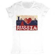 Женская футболка модная с принтом Люблю Россию