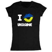 Женская футболка летняя с принтом I kiss Ukraine